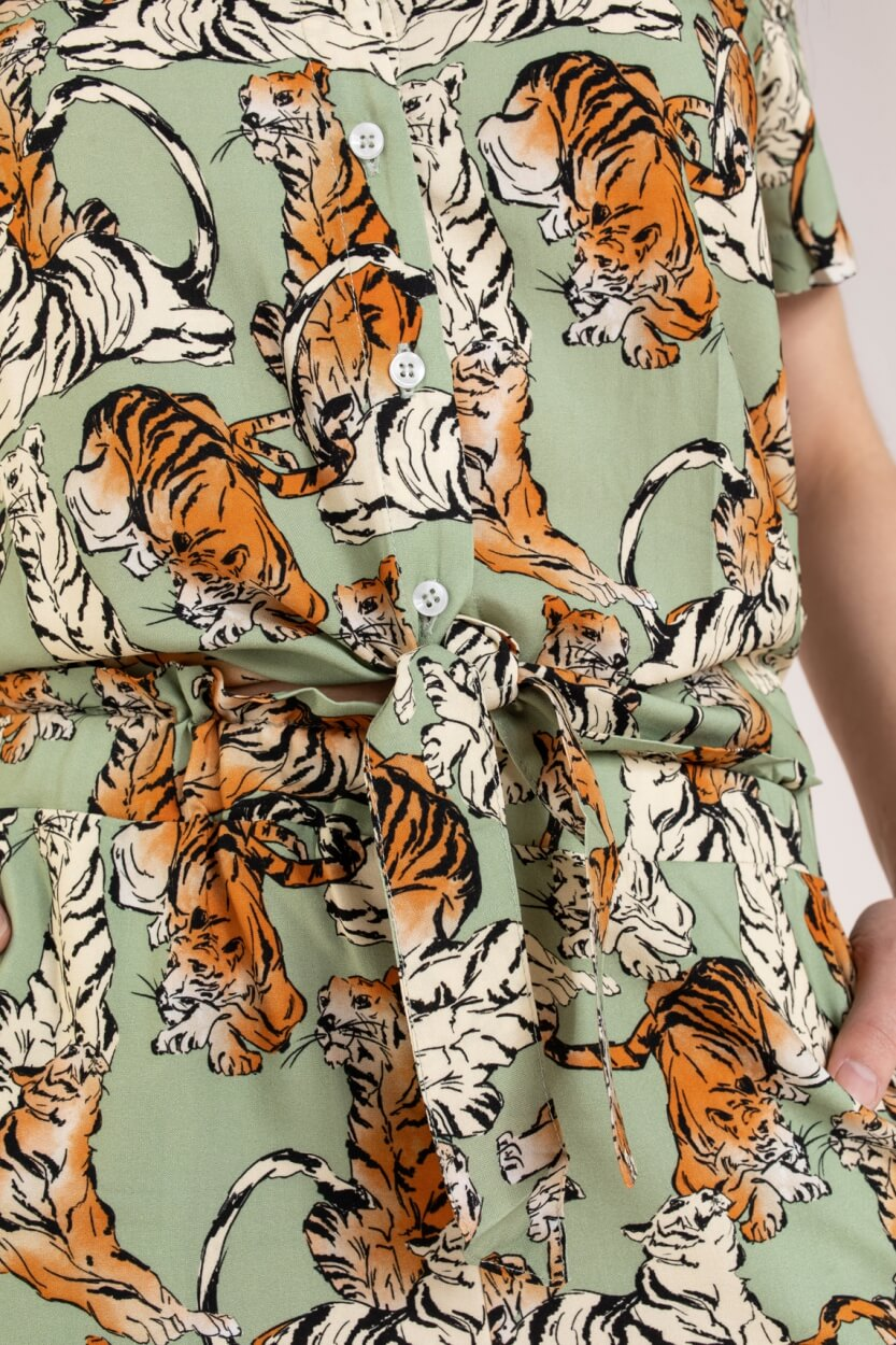Anna Blue Dames Blouse met tijgerprint Groen