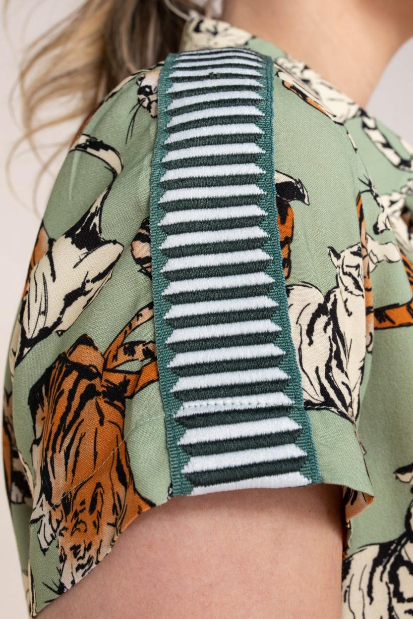 Anna Blue Dames Jurk met tijgerprint Groen