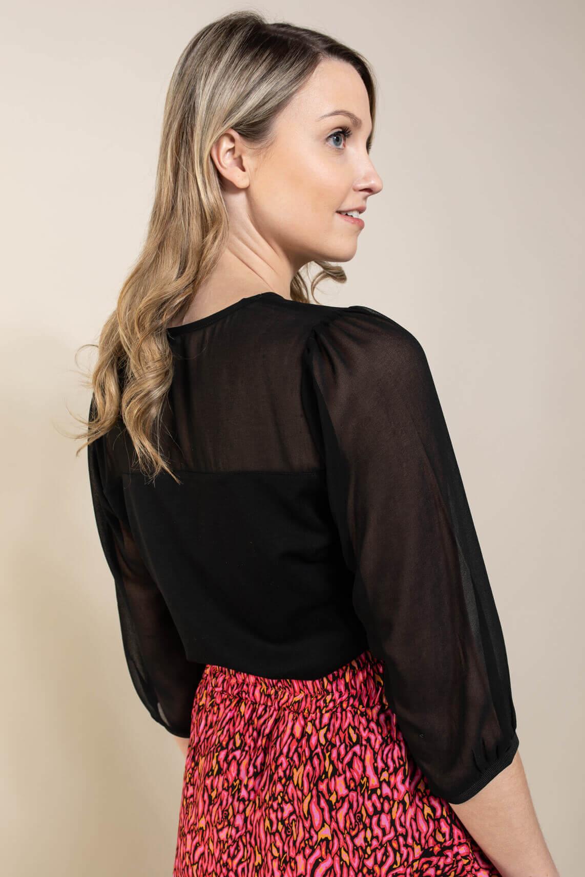 Anna Dames Shirt met pofmouw Zwart