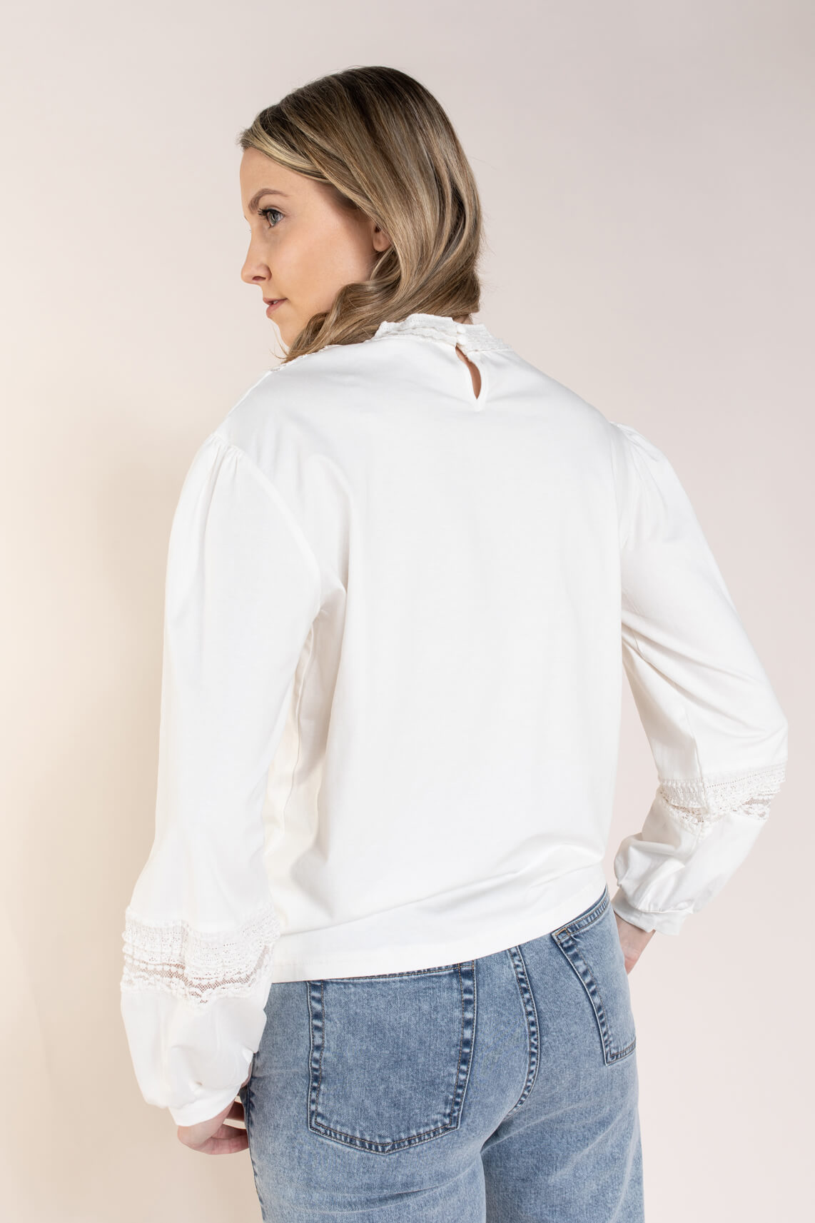 Anna Dames Blouse met kant Wit