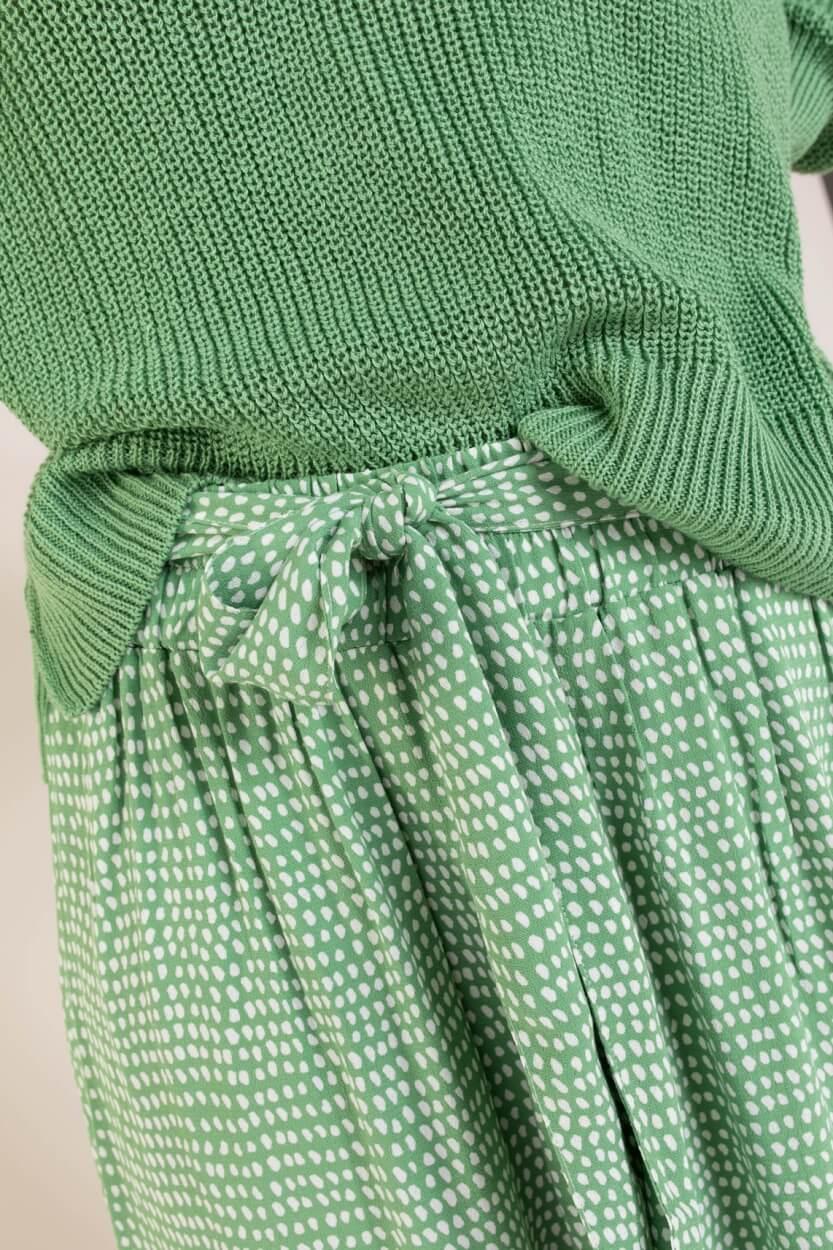 Anna Dames Rok met stippen Groen