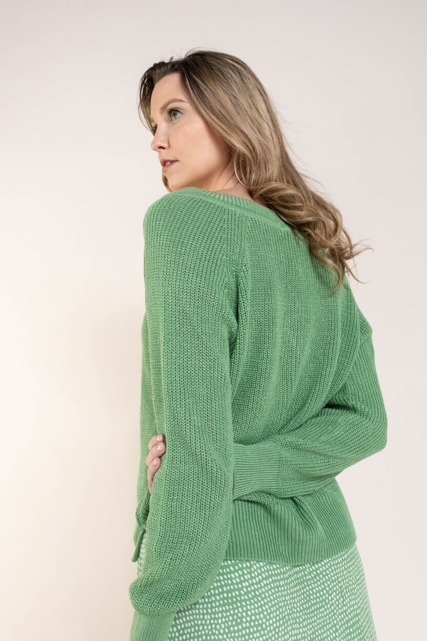 Anna Dames Pullover met V-hals Groen