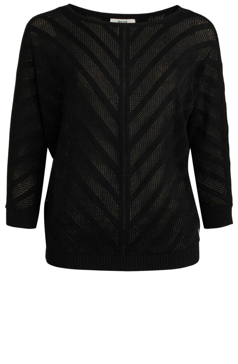 Anna Dames Opengewerkte pullover Zwart