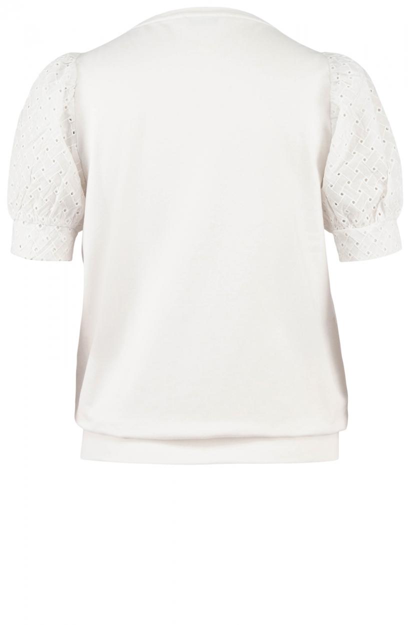 Anna Dames Sweater met broderie mouw Wit