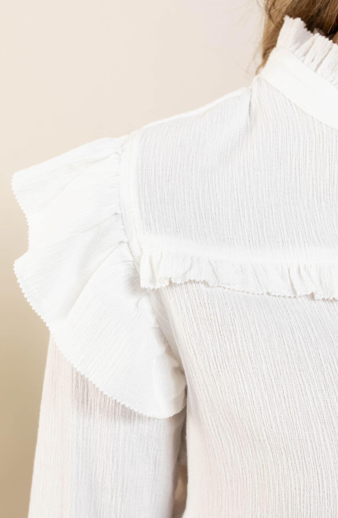 Anna Dames Blouse met ruches Wit