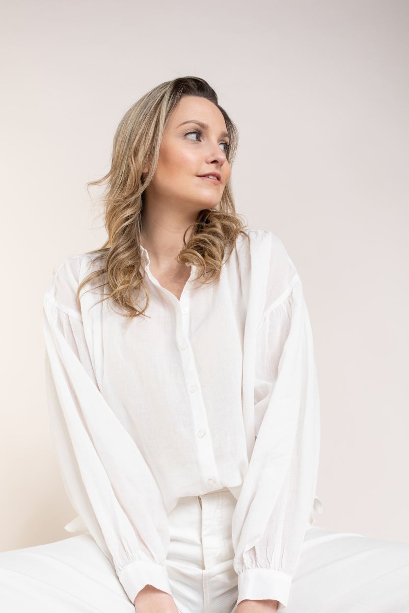 Anna Dames Blouse met pofmouw Wit