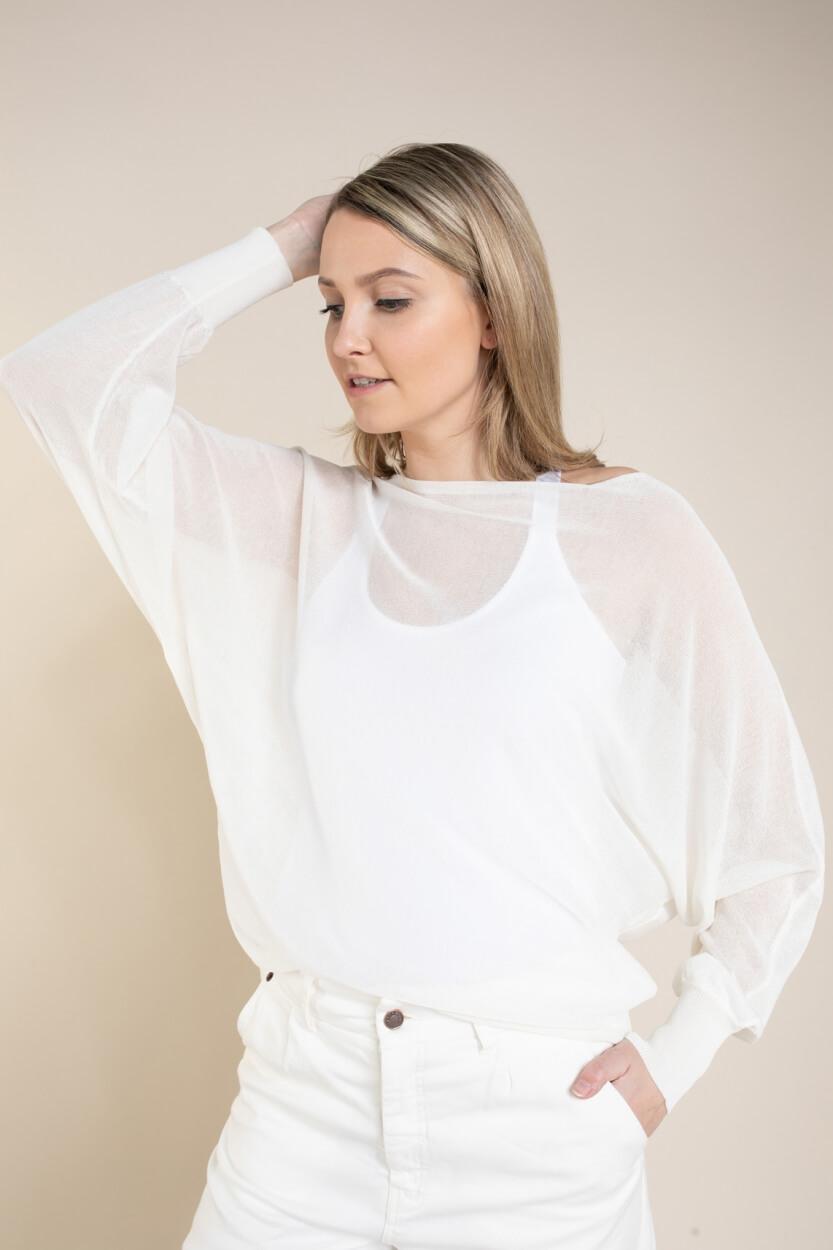Anna Dames Wijde pullover Wit