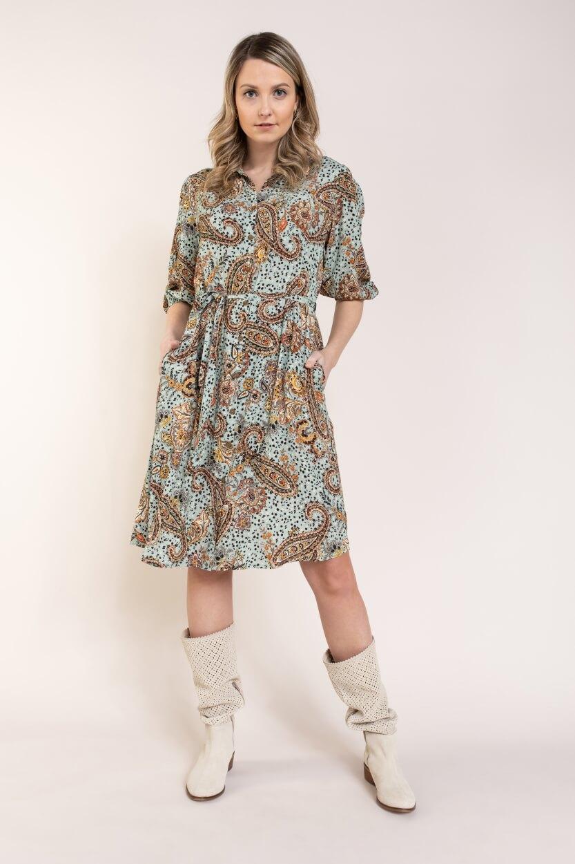 Anna Dames Paisley jurk Blauw