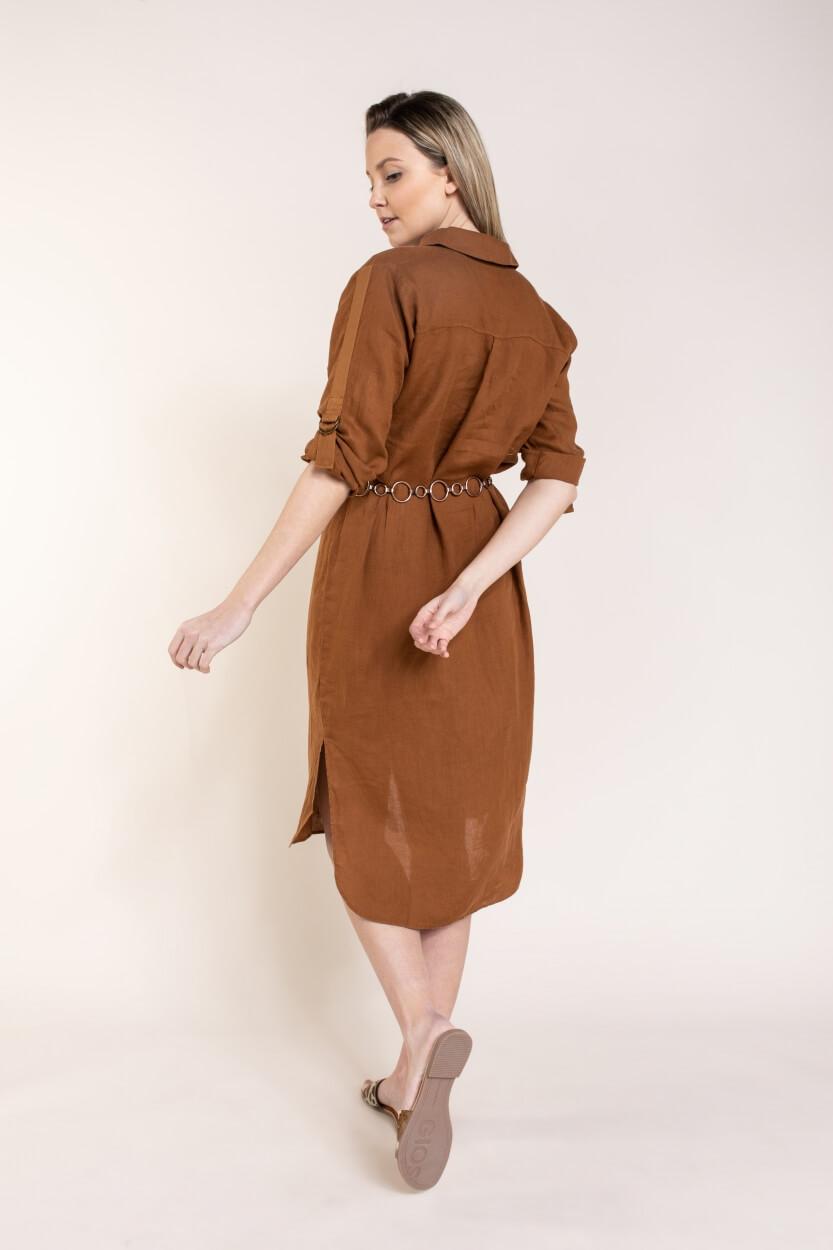 Anna Dames Linnen jurk Bruin
