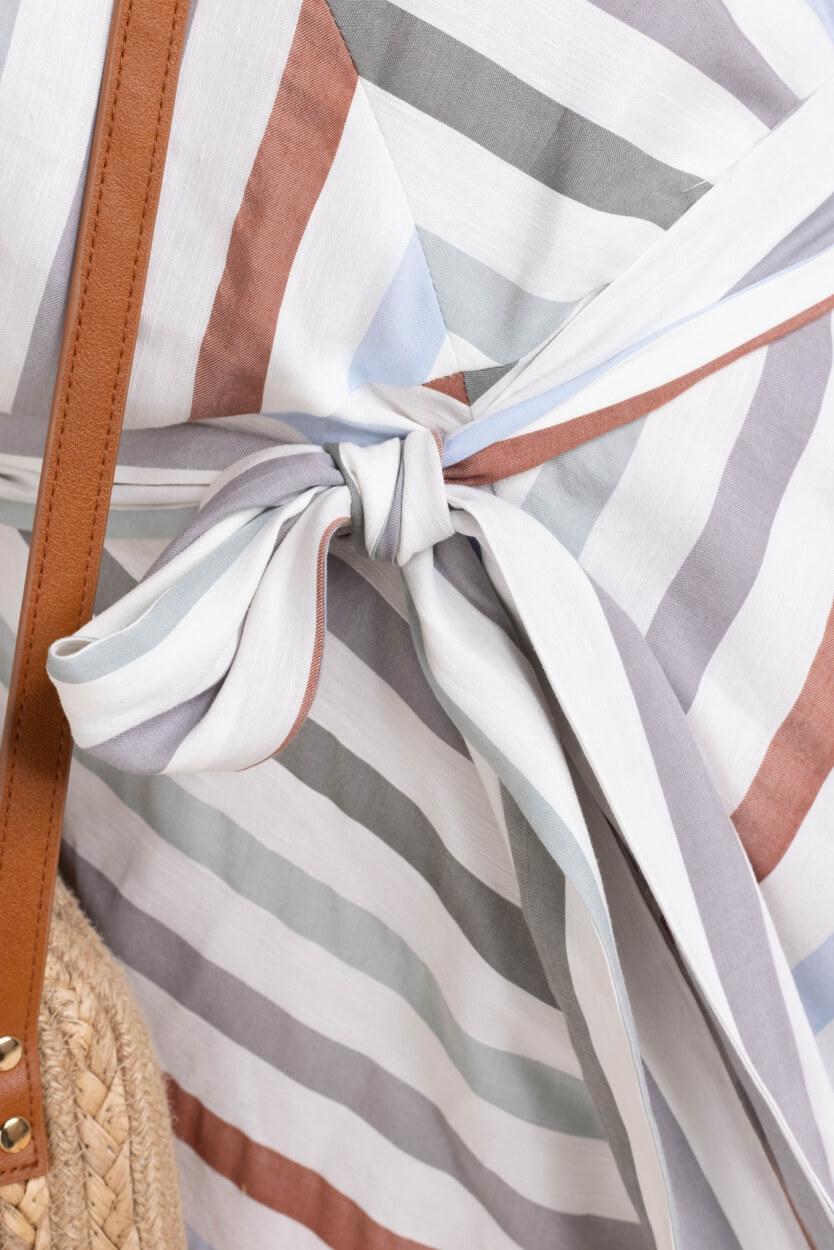 Anna Dames Gestreepte jurk Wit