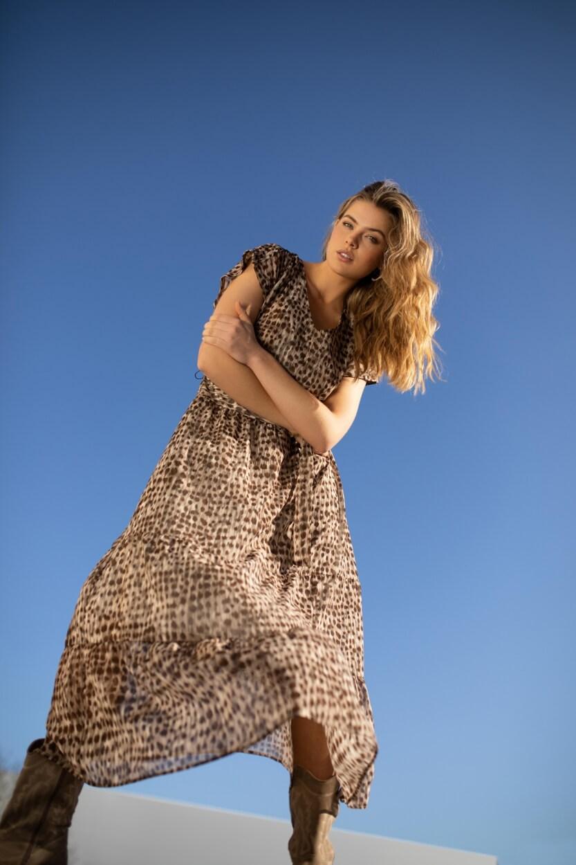 Anna Dames Maxi jurk Bruin
