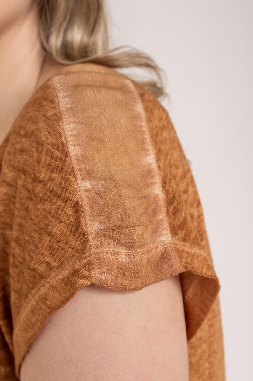 Anna Dames Garment dye shirt Bruin