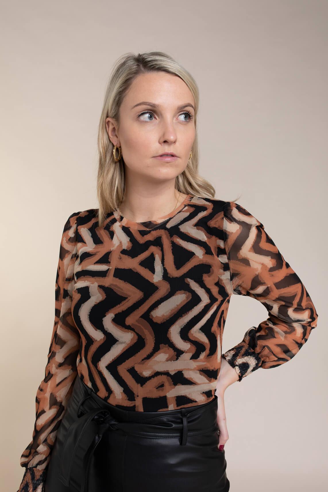 Anna Dames Mesh shirt Oranje