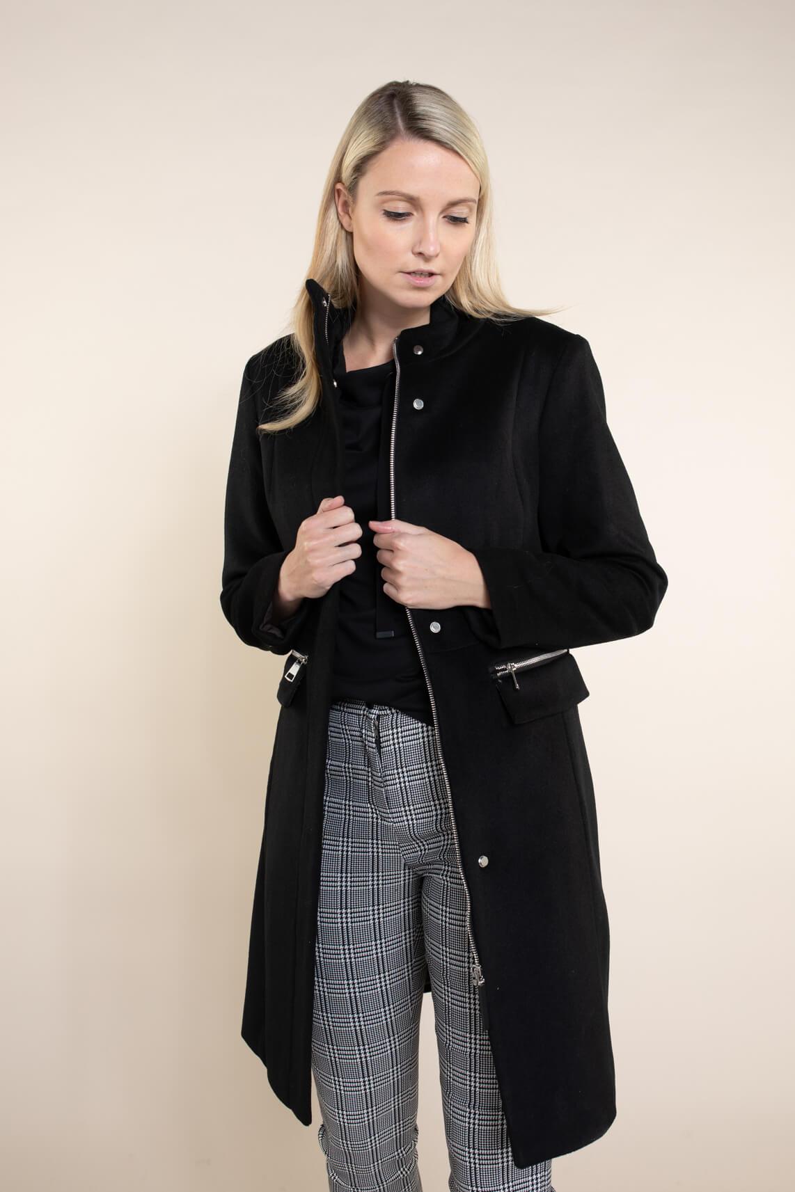 Giacomo Dames Wollen jas zwart