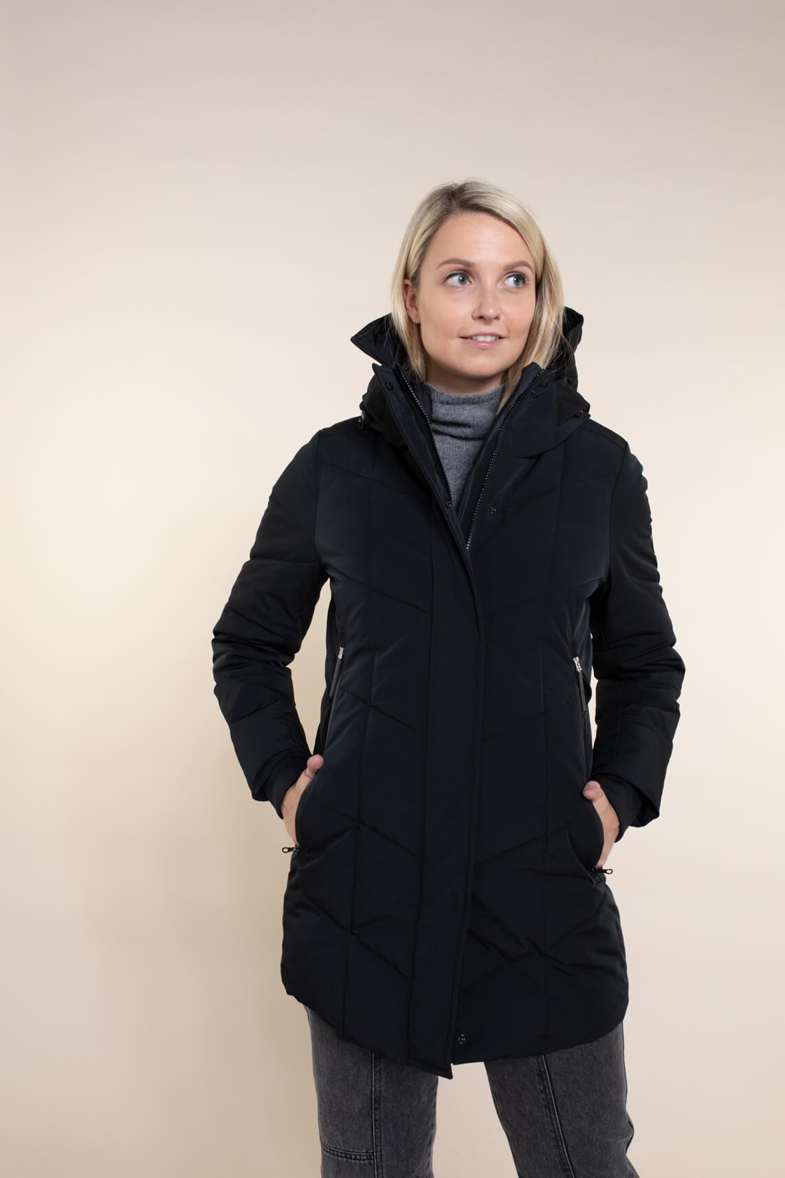 Giacomo Dames Coat met capuchon zwart