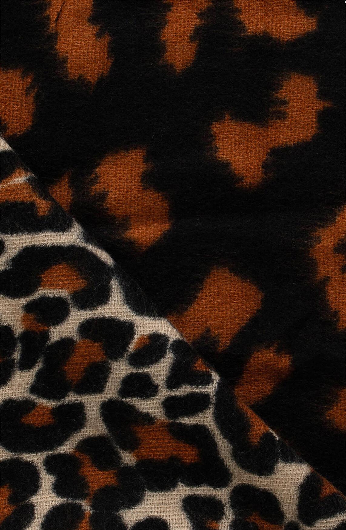 Anna Dames Shawl met panterprint zwart