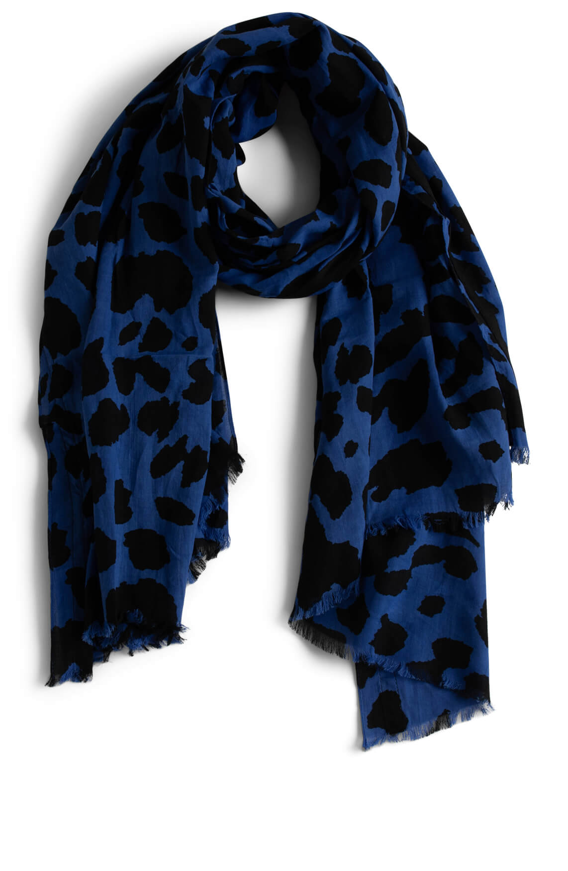 Anna Blue Dames Shawl met gevlekte print Blauw