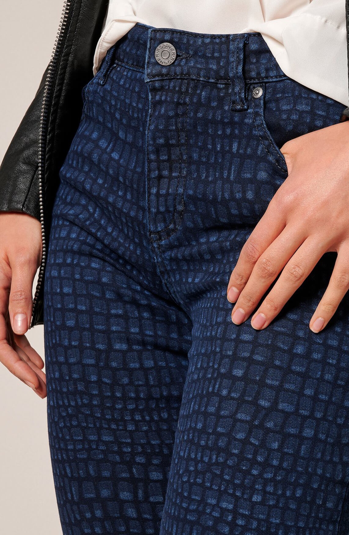 Rosner Dames L32 Antonia reptielprint broek Blauw