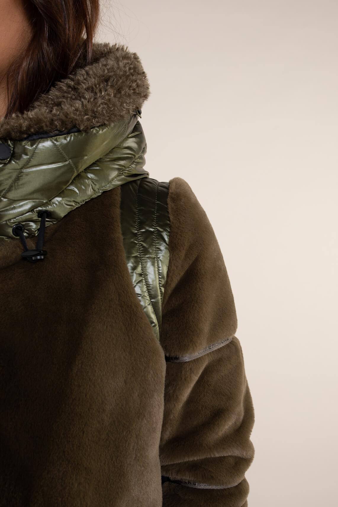 Creenstone Dames Faux fur jas groen