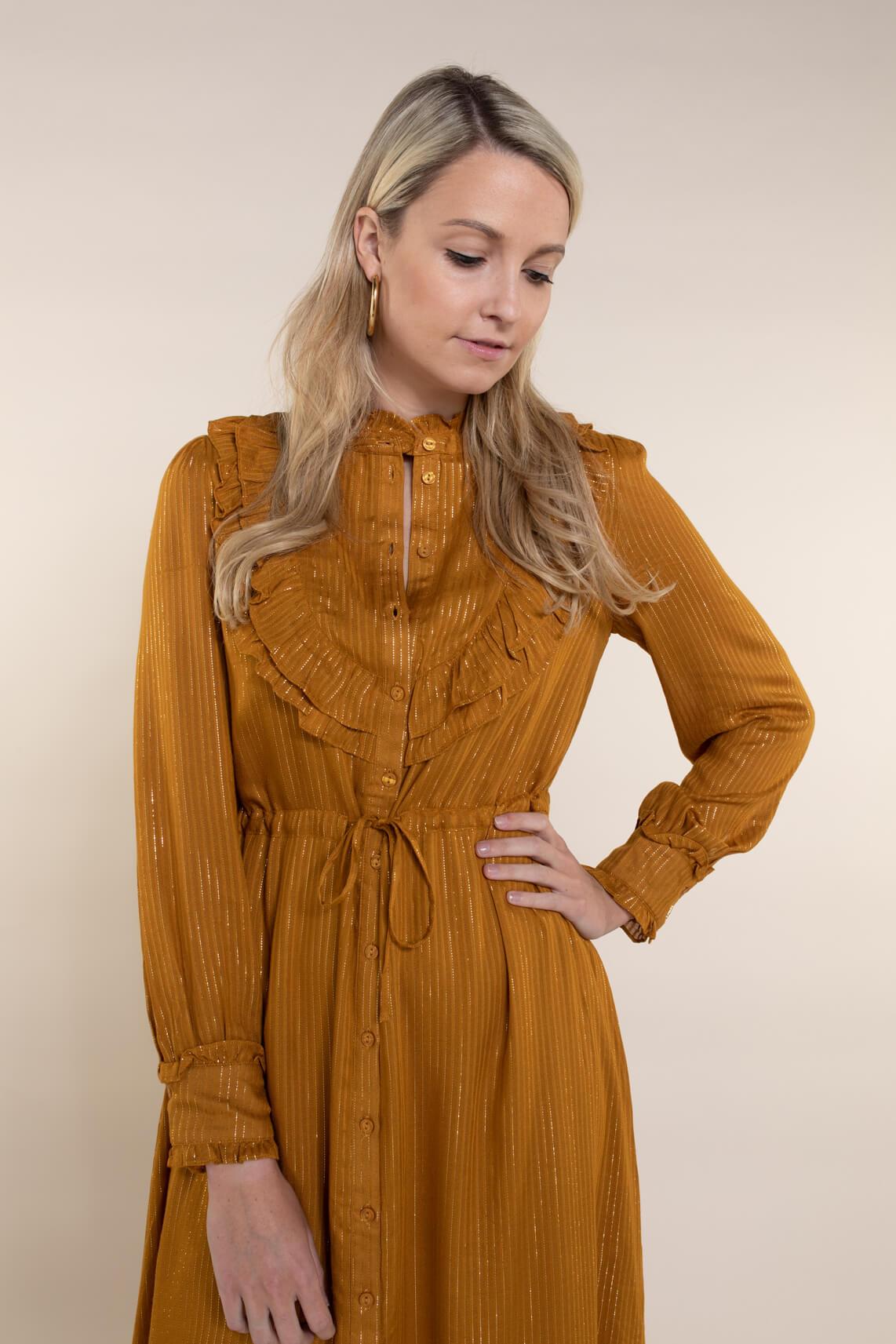 Fabienne Chapot Dames Fia lurex jurk geel