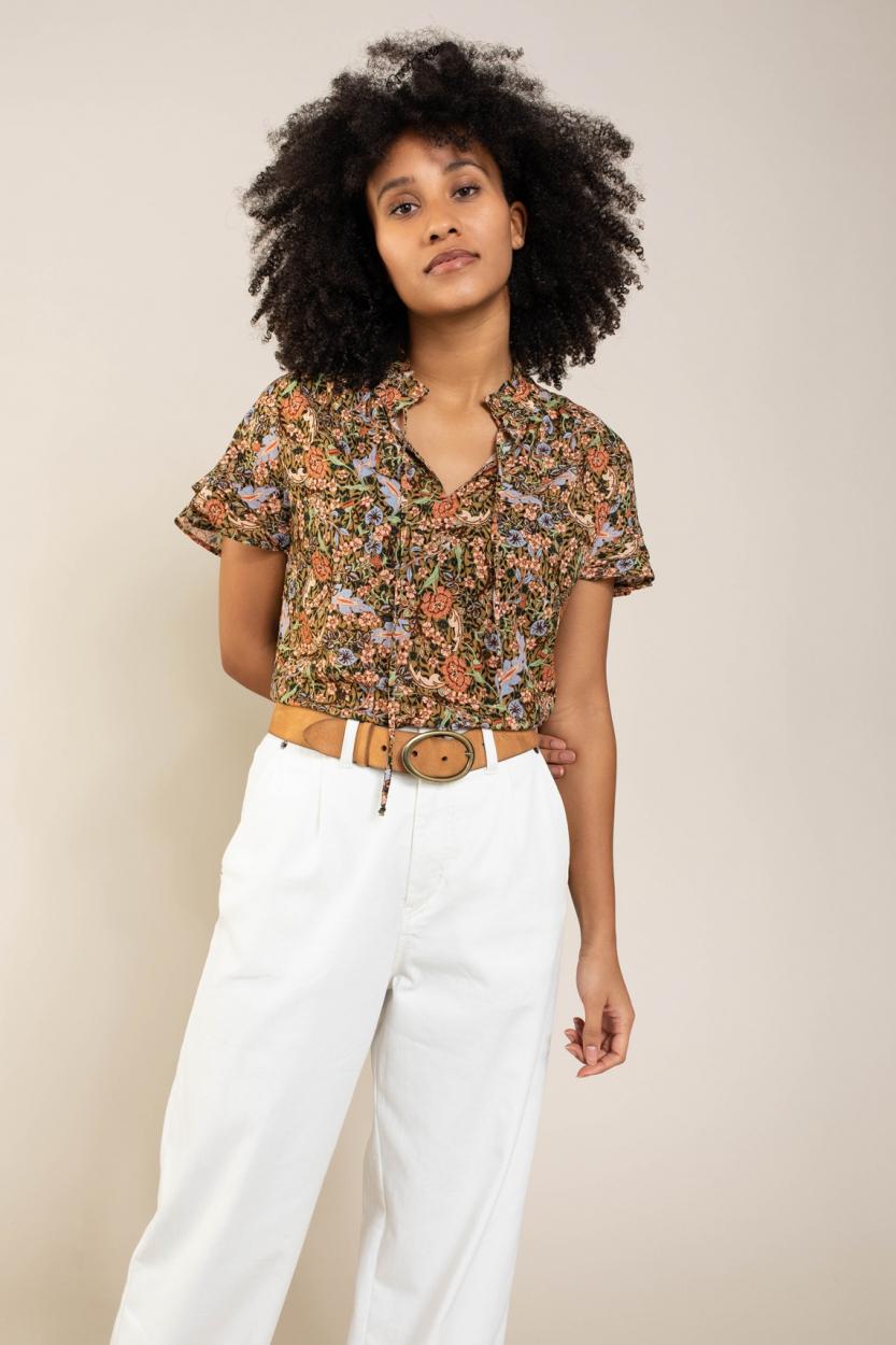 Anna Dames Bloemen blouse Rood