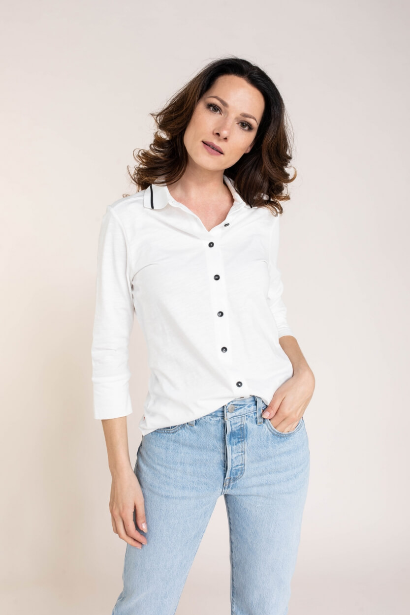 Anna Blue Dames Casual shirt Wit