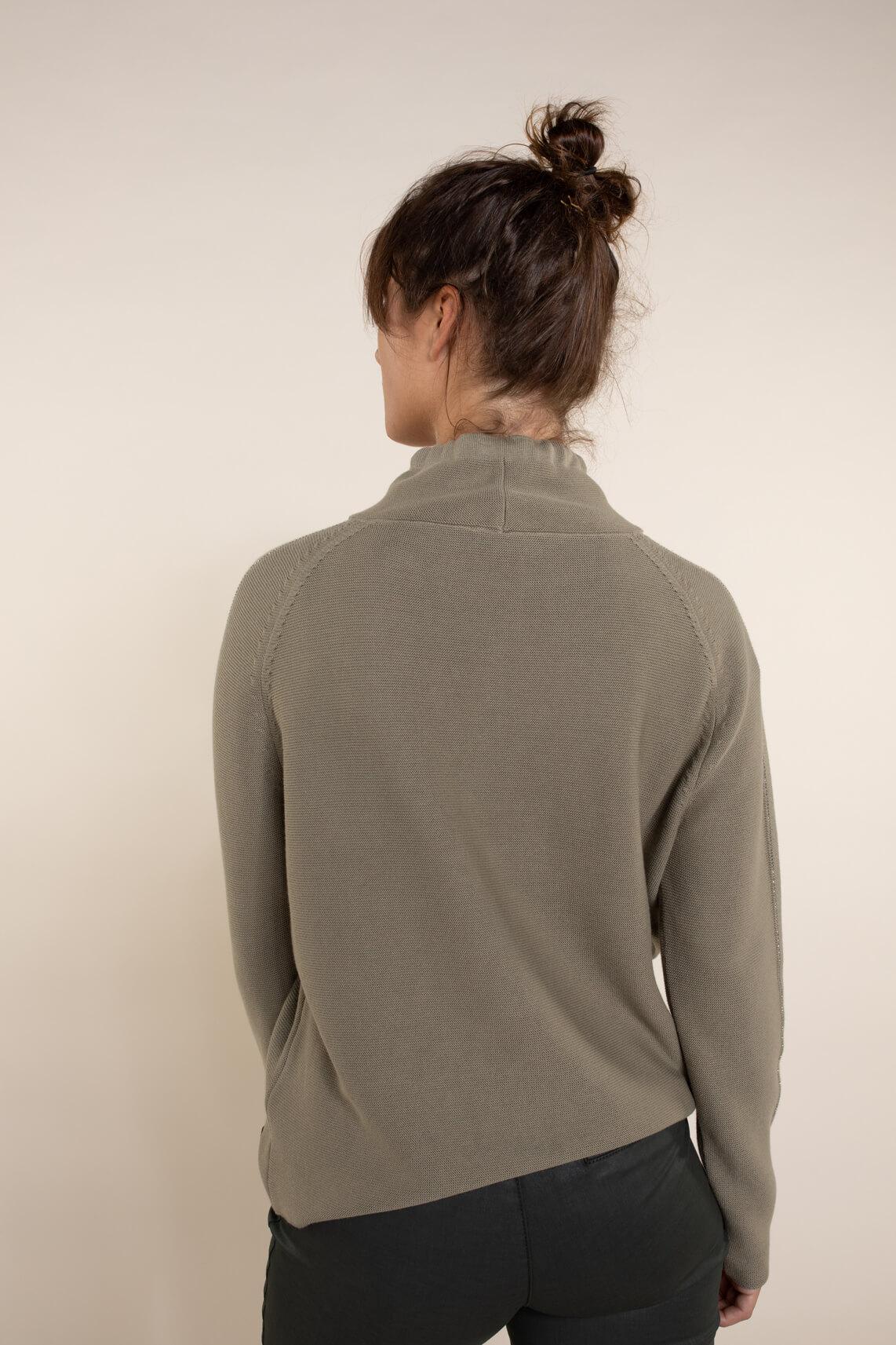 Monari Dames Sweatshirt met strass groen