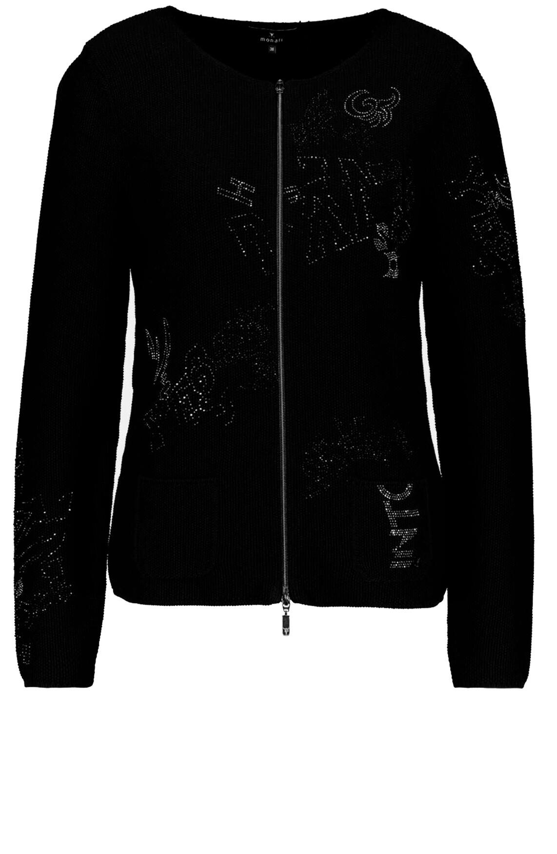 Monari Dames Vest met strass zwart