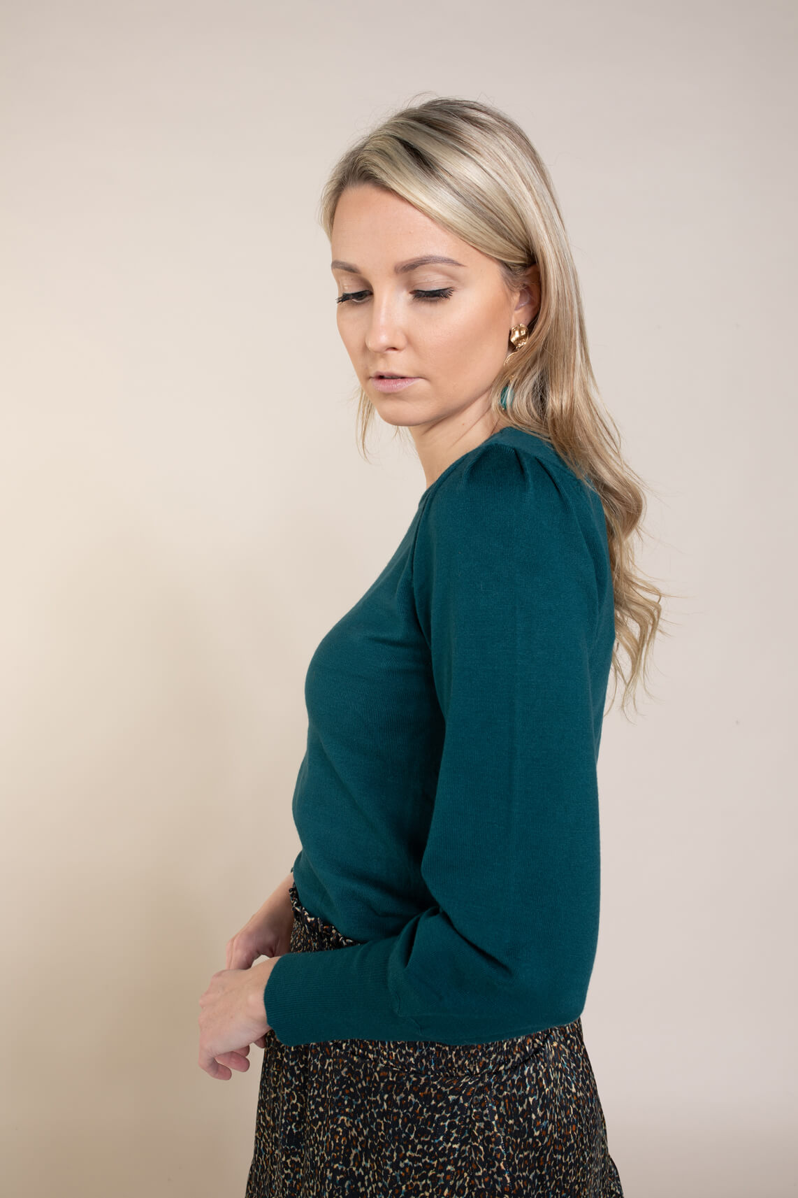 Anna Dames Pullover met pofmouw Blauw