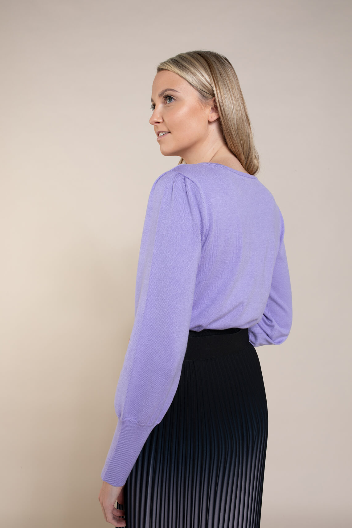 Anna Dames Pullover met pofmouw Paars