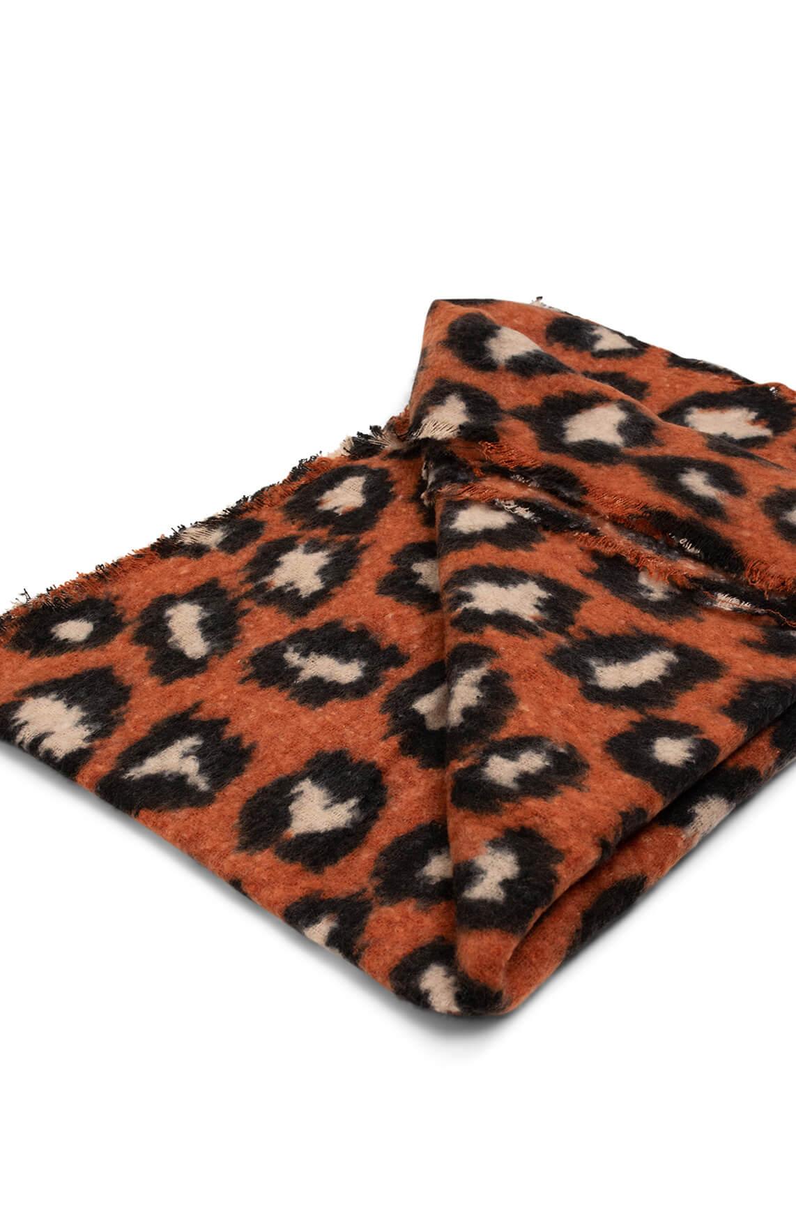 Zo Dames Panterprint shawl Bruin