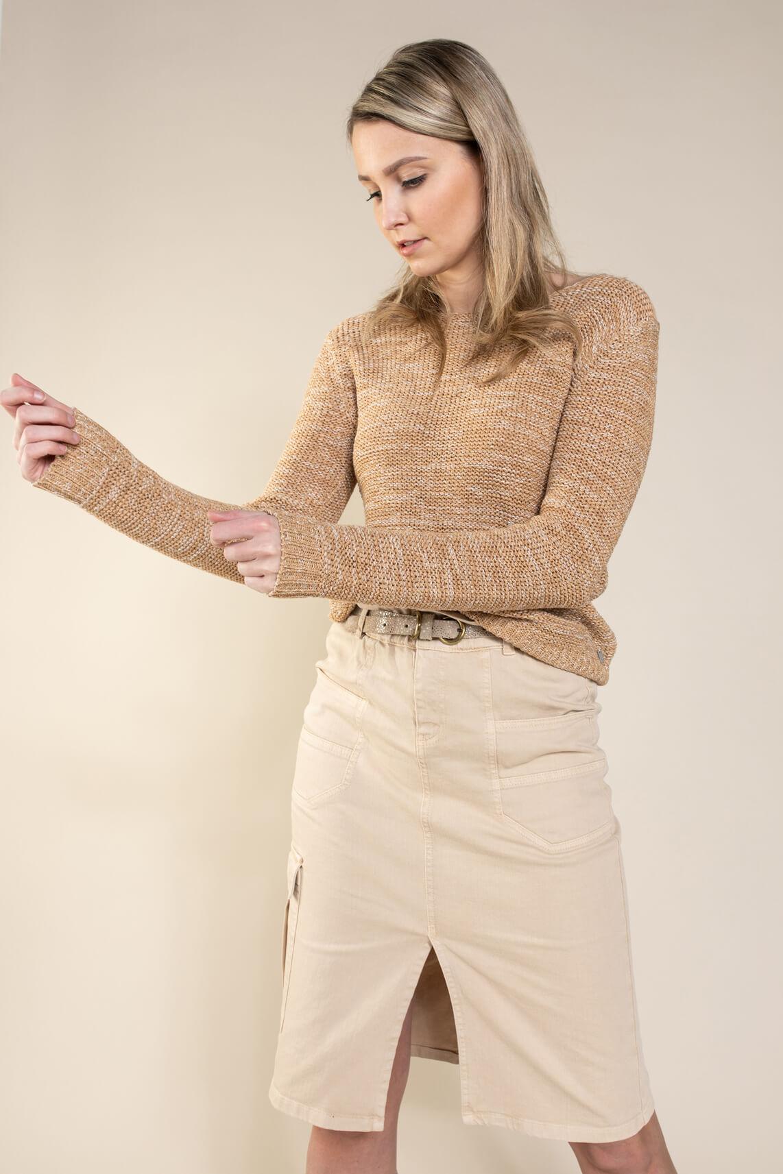 Anna Dames Pullover in bandgaren Bruin