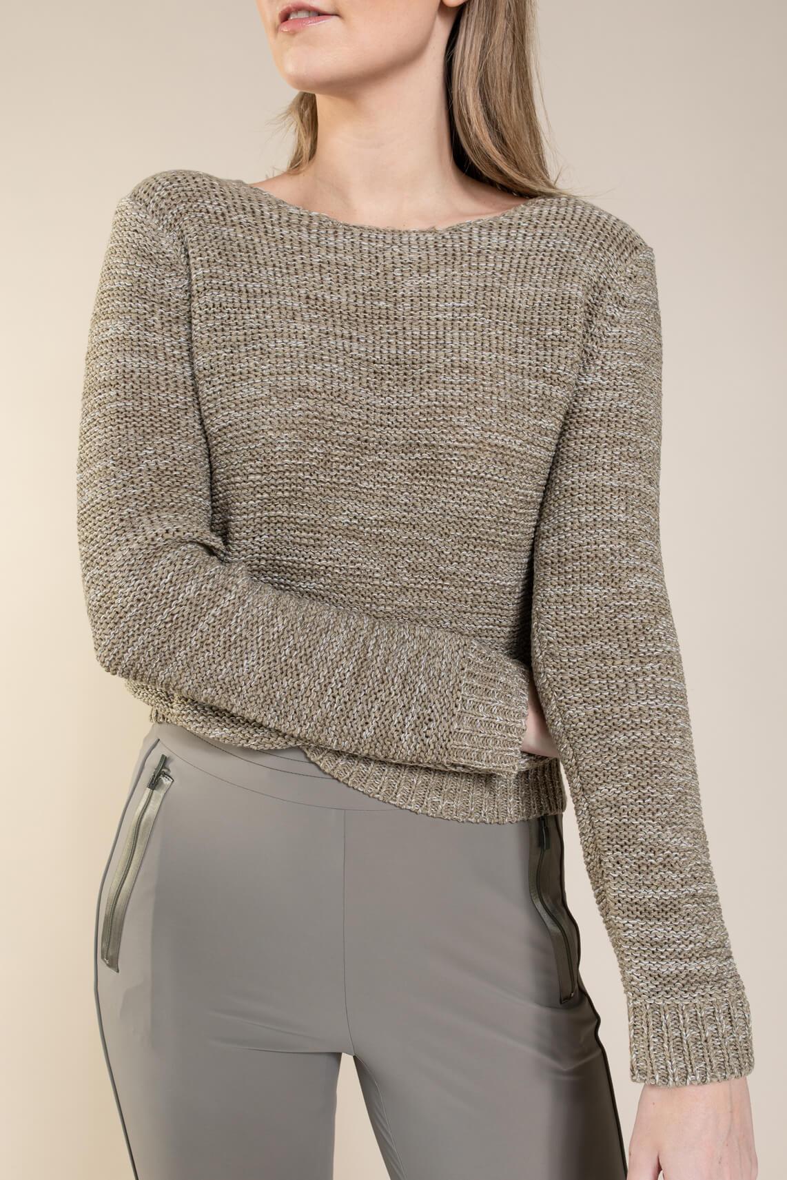 Anna Dames Pullover in bandgaren Groen