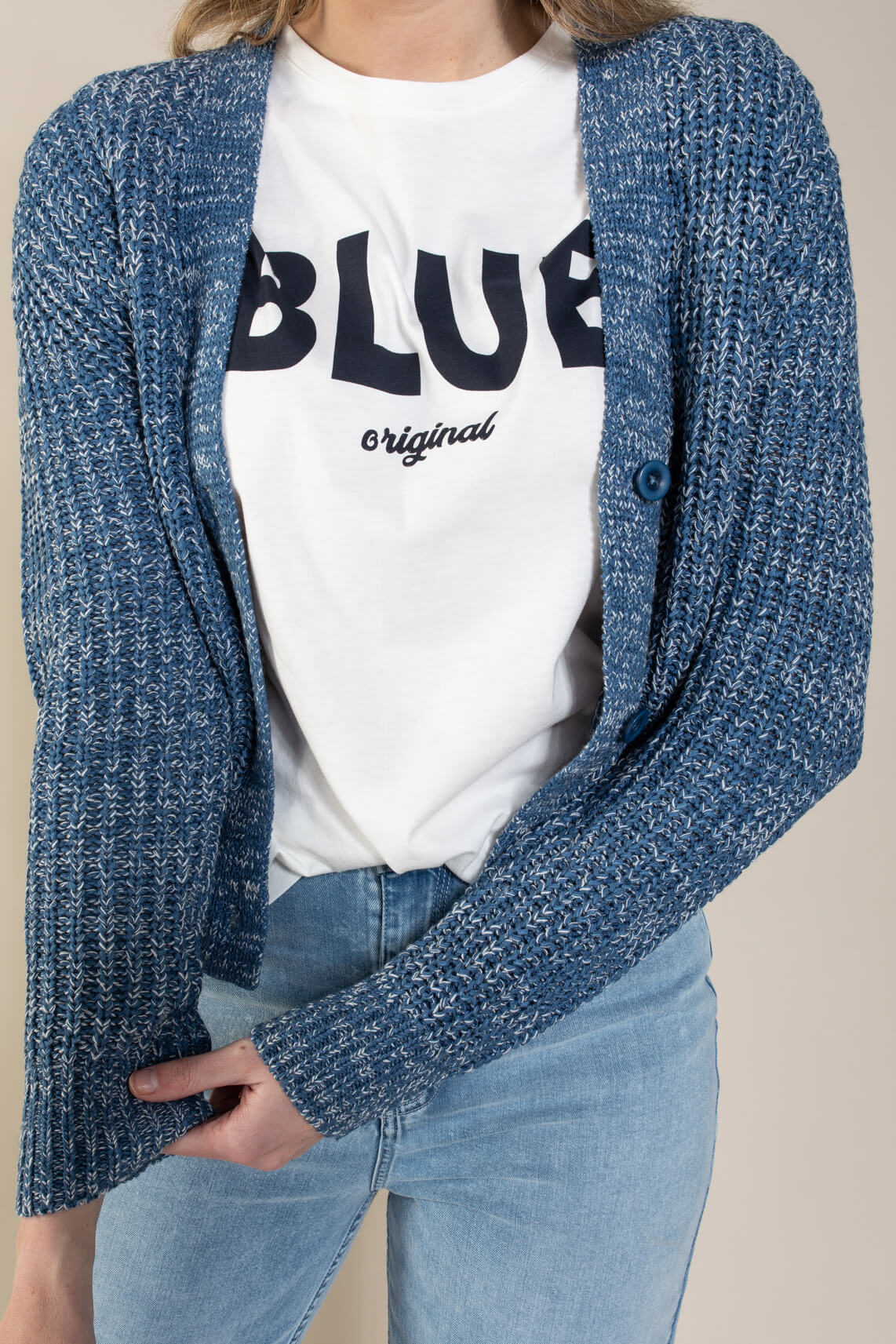 Anna Dames Vest in bandgaren Blauw