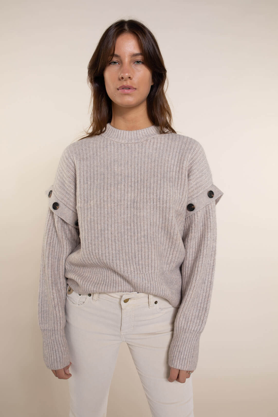 Co Couture Dames Rowie knopen pull Ecru