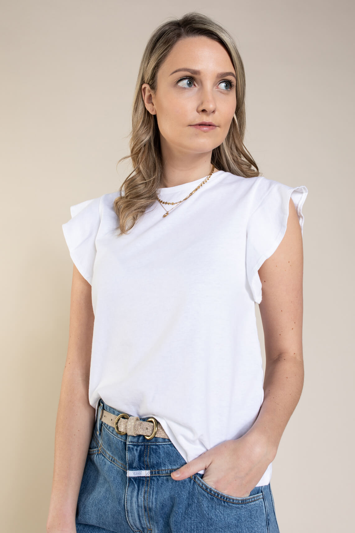 Closed Dames T-shirt met ruches Wit