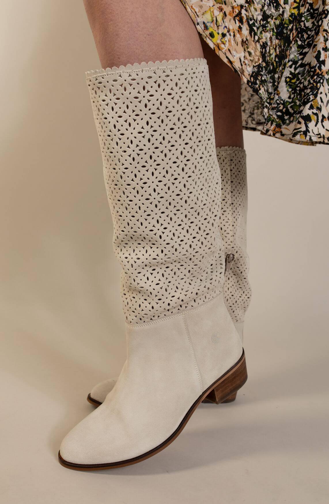 Only a Shoe Dames Cowboylaars Ecru