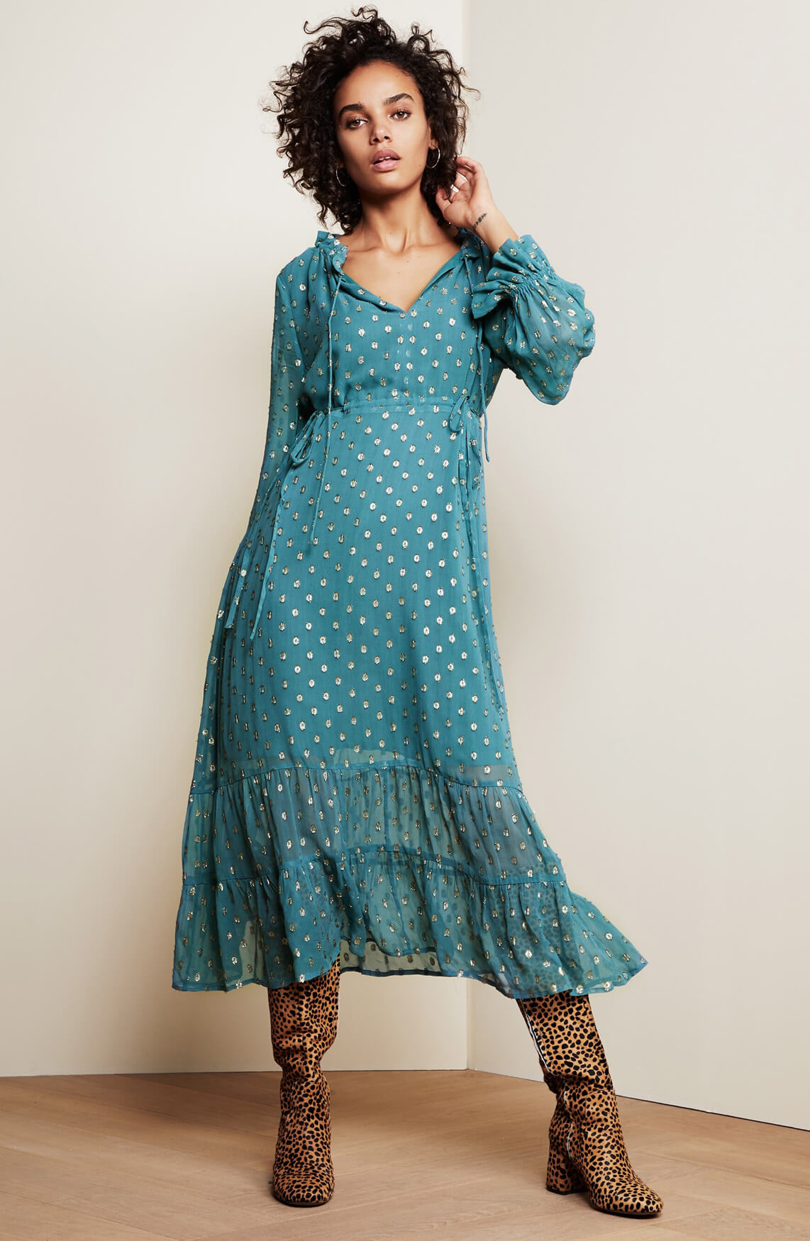 Fabienne Chapot Dames Coco lurex jurk Blauw