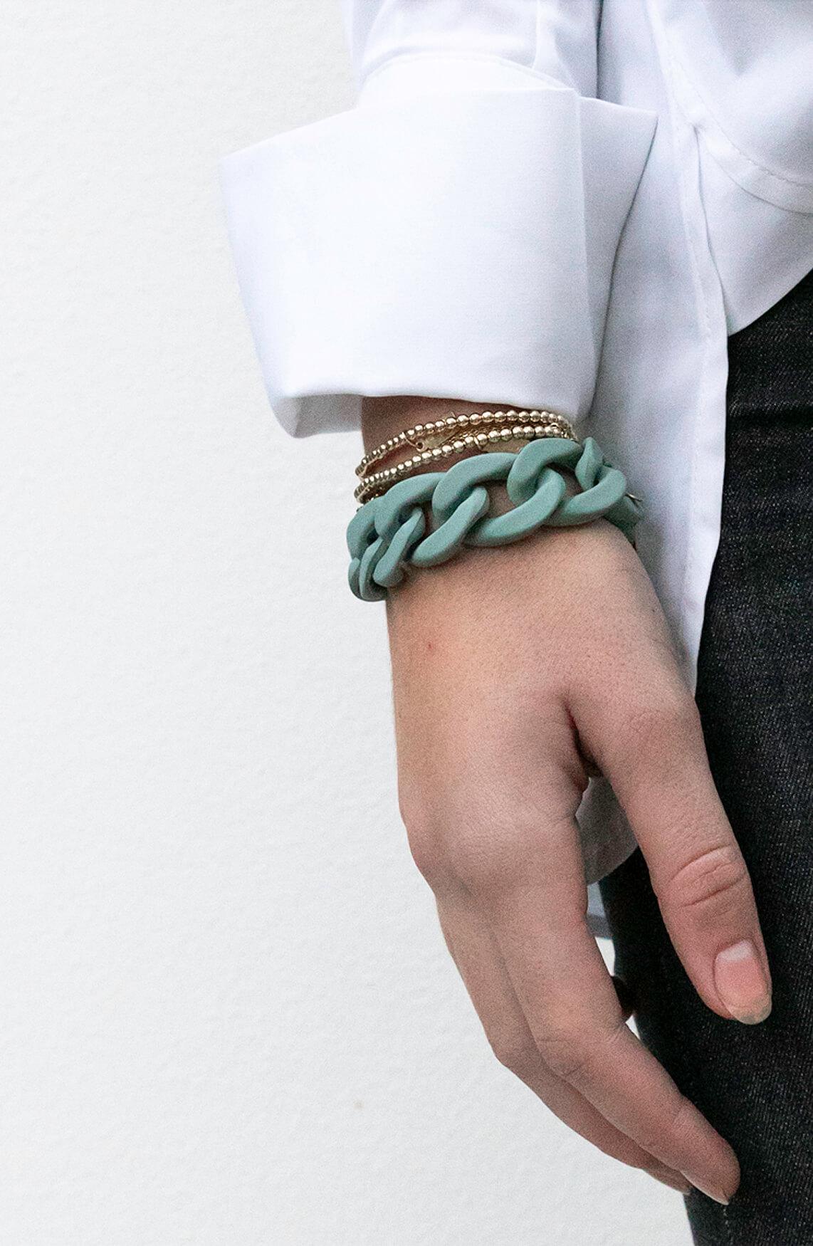 Lins. Amsterdam Dames Ellen armband groen