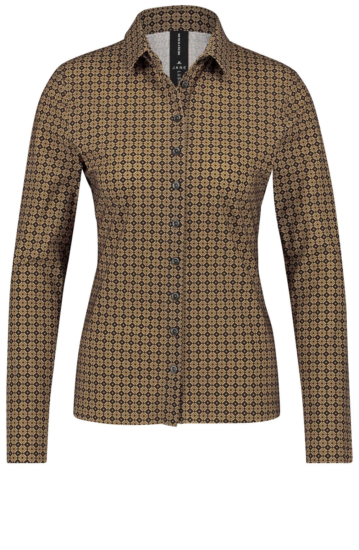 Jane Lushka Dames Kikkie blouse met print Bruin
