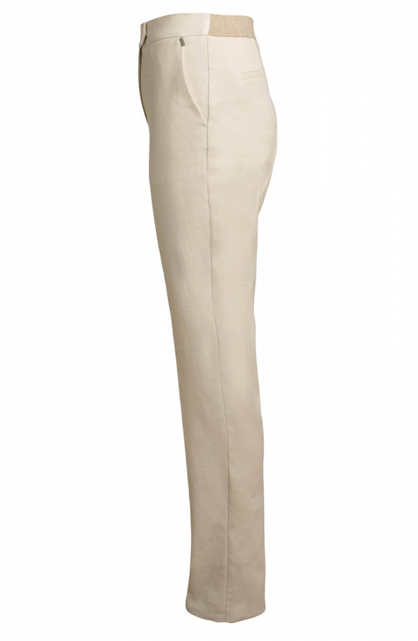 Anna Dames Pantalon met lurex band Wit
