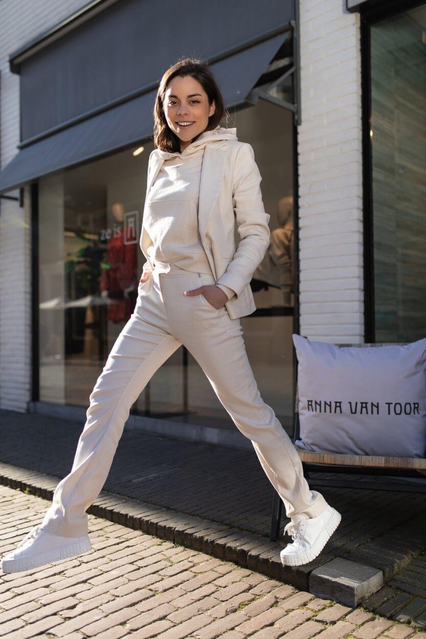 Anna Dames Pantalon met lurex band Wit