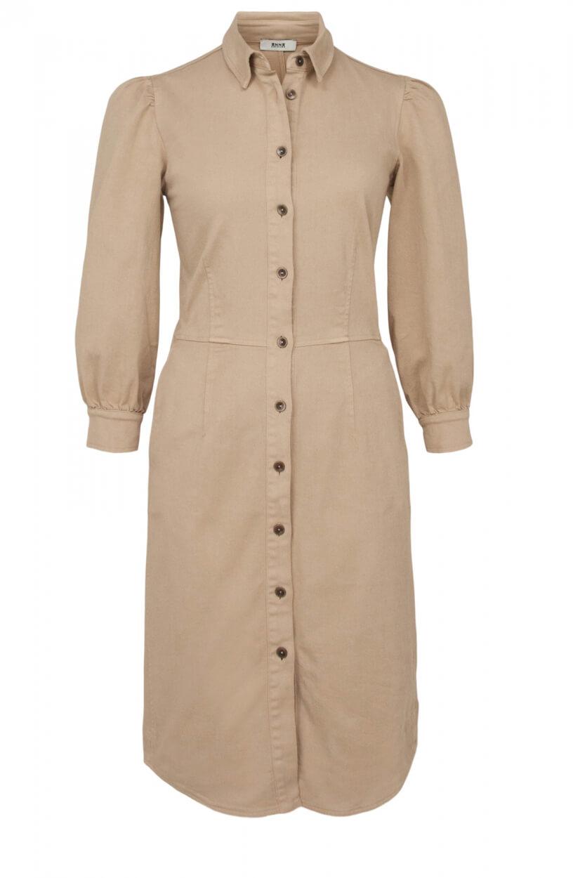 Anna Dames Denim jurk Bruin
