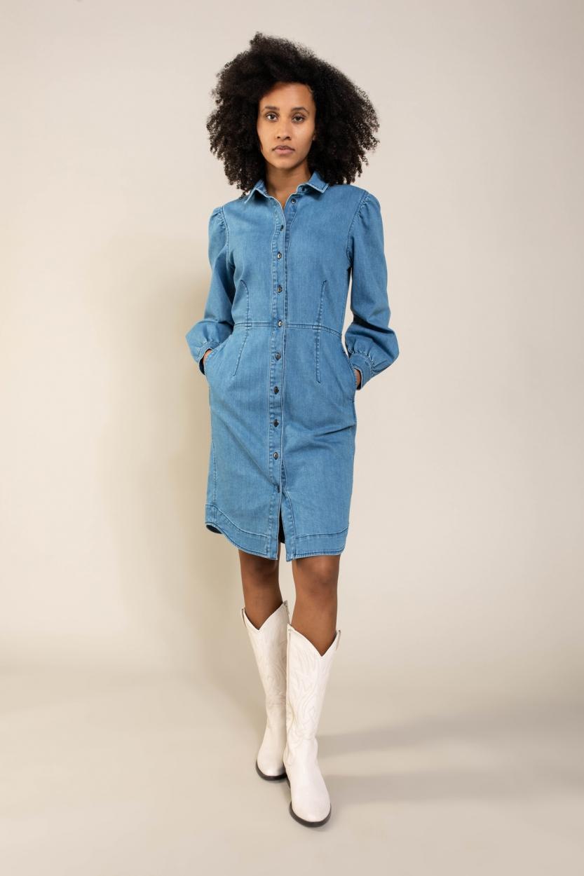 Anna Dames Jeans jurk Blauw