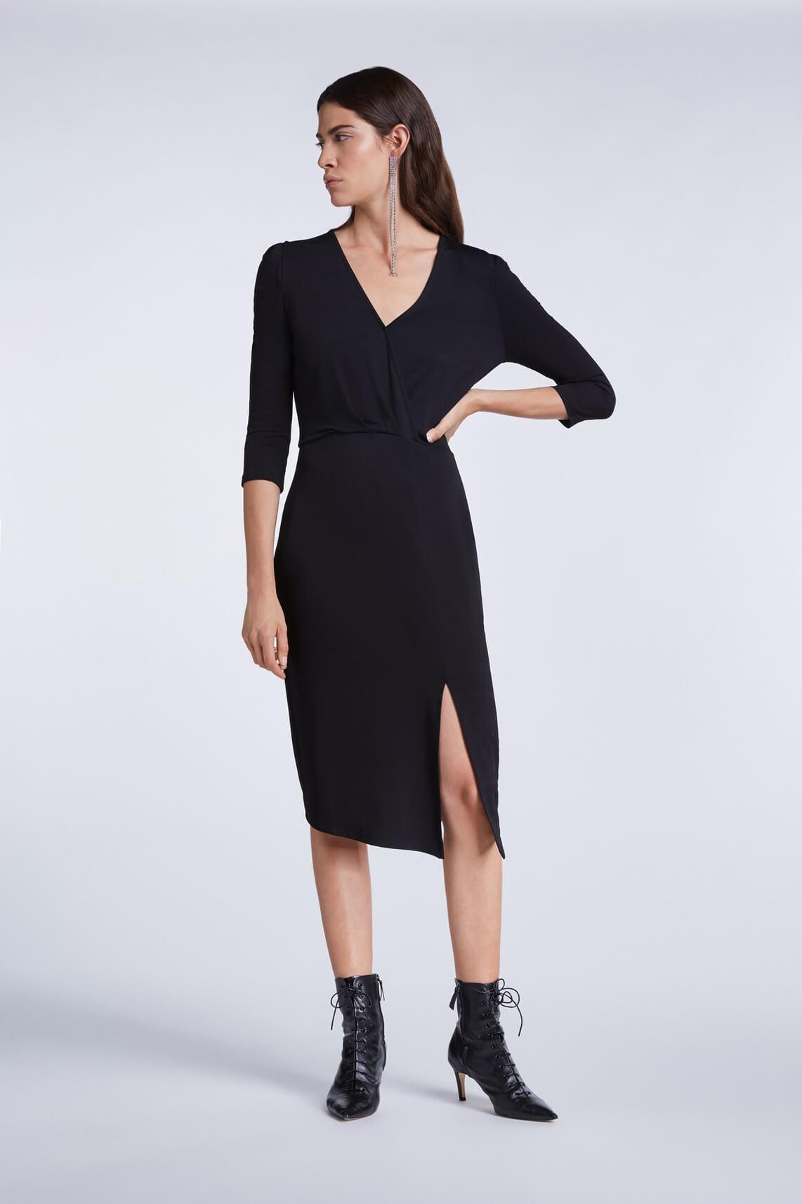 Set Dames Overslag jurk zwart