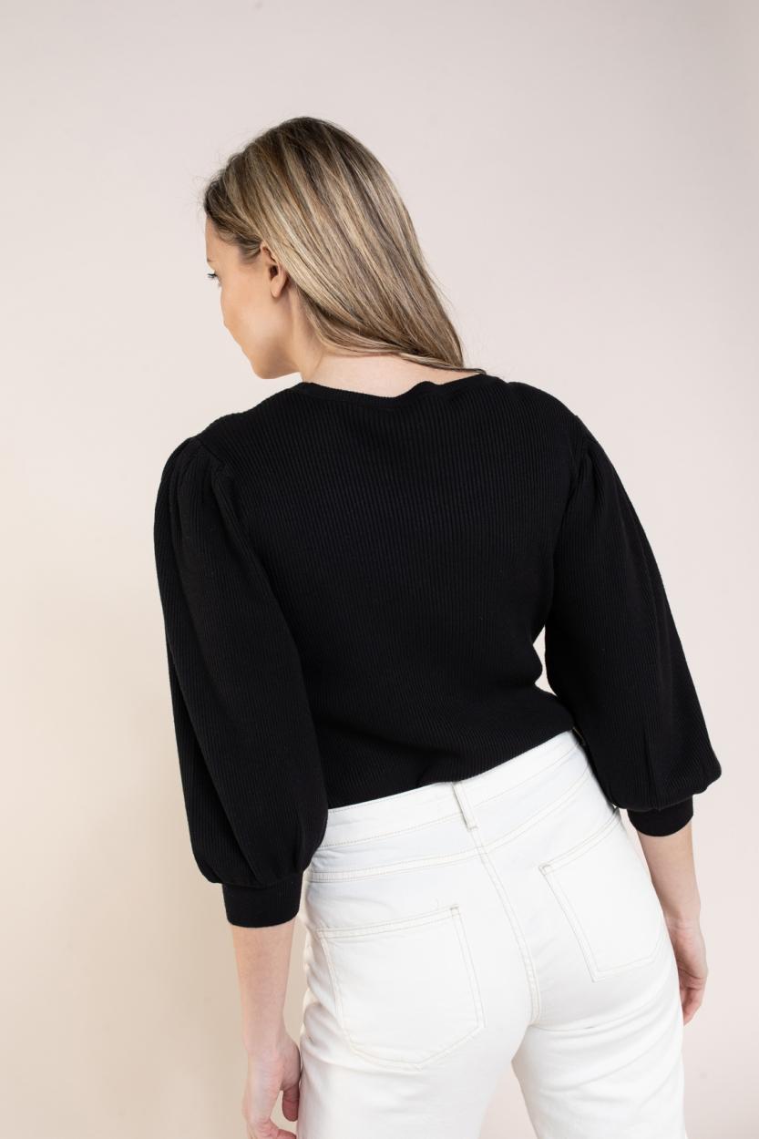 Set Dames Pullover met pofmouw Zwart