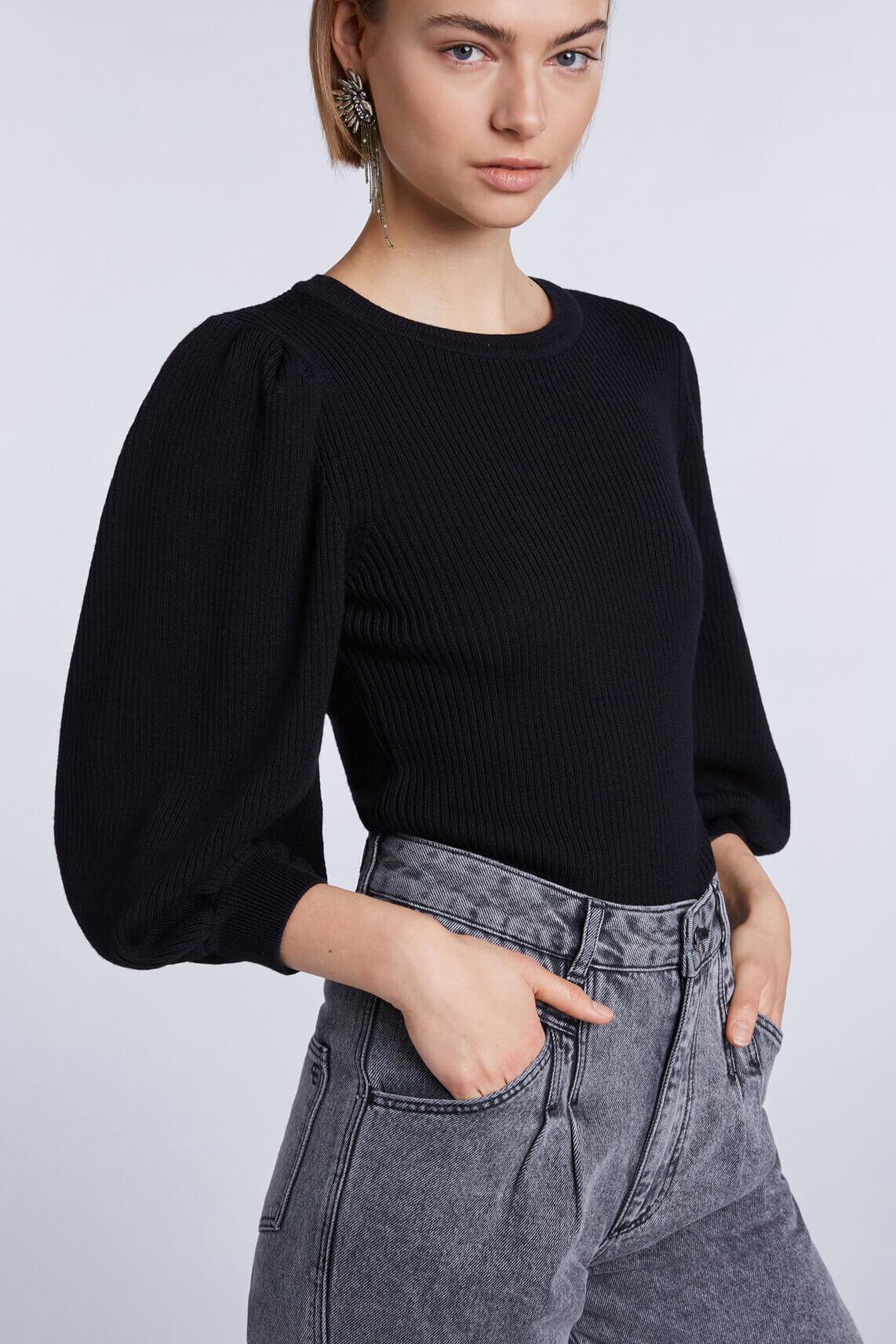 Set Dames Ballonmouwen trui zwart