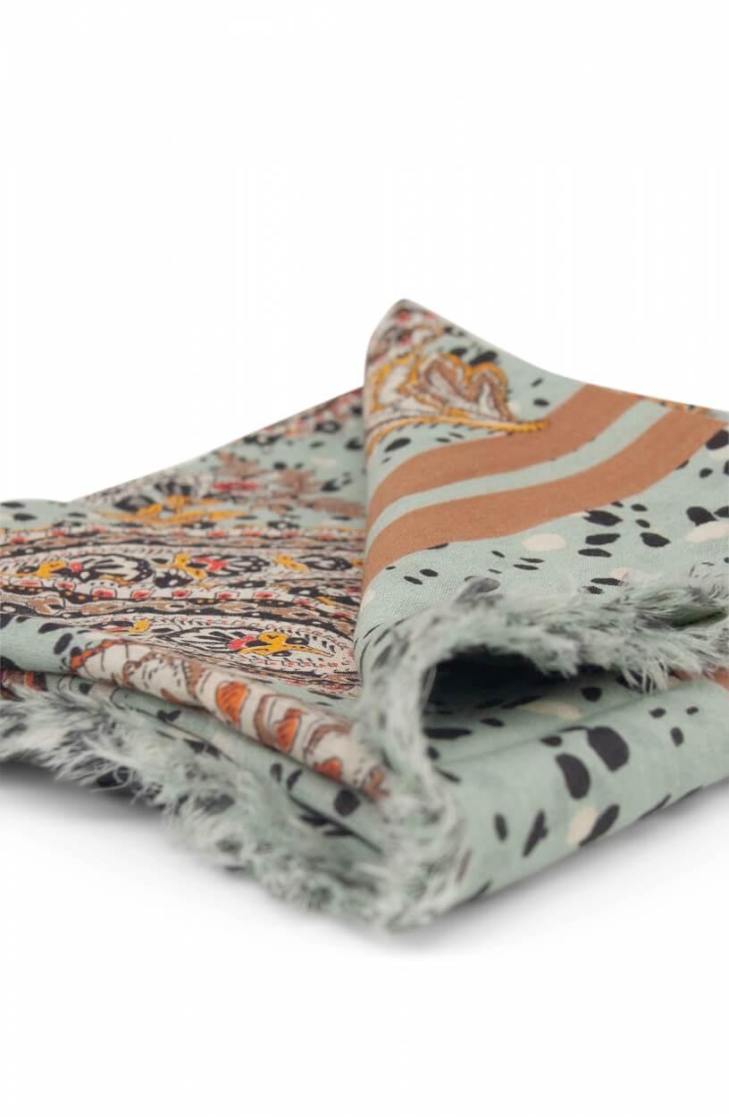 Anna Dames Paisley shawl Blauw
