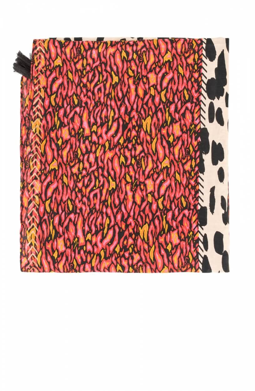 Anna Dames Shawl met print Roze