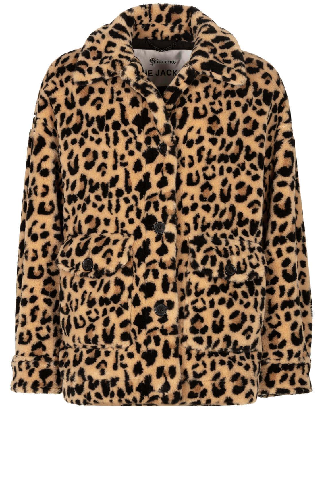 Giacomo Dames Fake fur luipaard jas Bruin